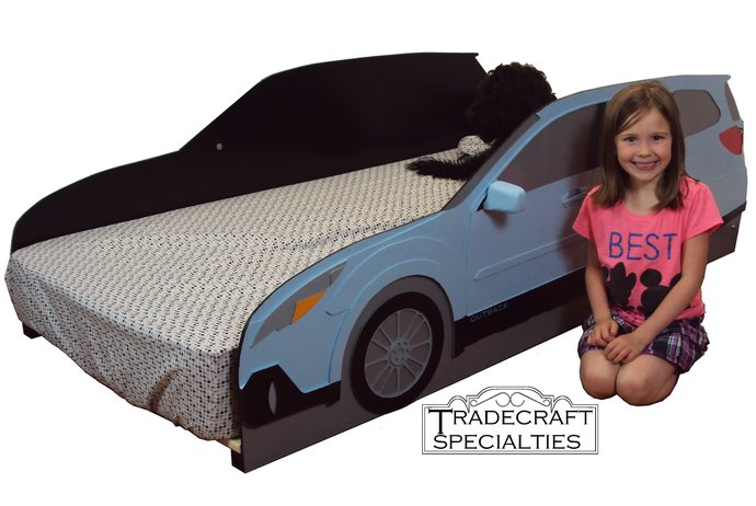 Subaru Outback styled twin kids bed frame - handcrafted - car themed children's