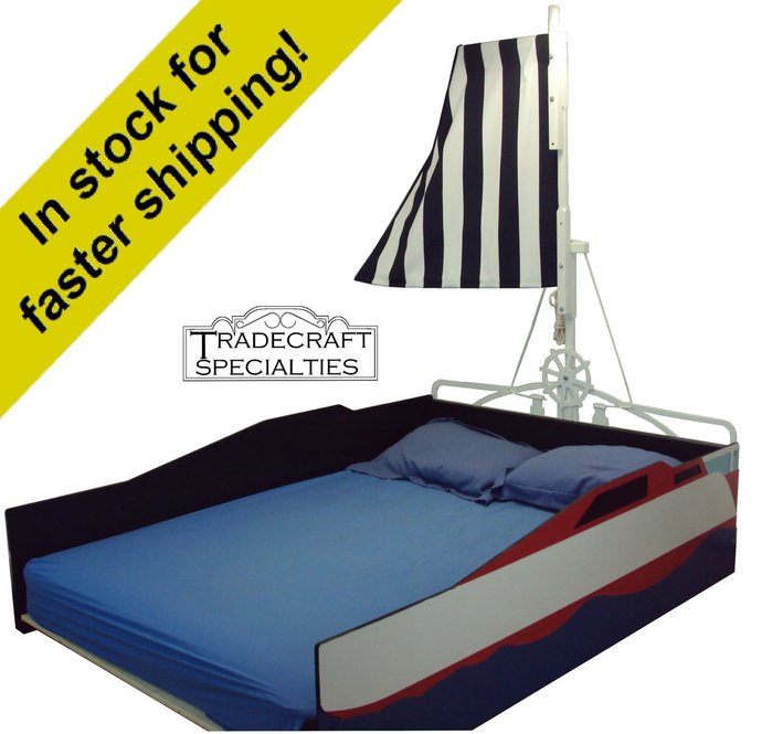 Sailboat full kids bed frame - handcrafted - nautical themed children's bedroom