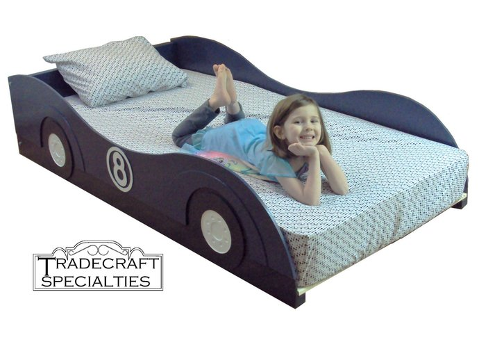 Stylized sportscar twin kids bed frame - handcrafted - race car themed