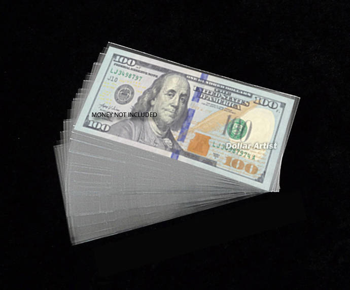100 Soft CURRENCY HOLDER for Modern Dollar Bills Protector Sleeve THIN Poly