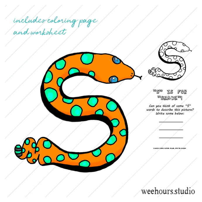 Kids coloring page - S is for snake! - vector art / digital art / educational