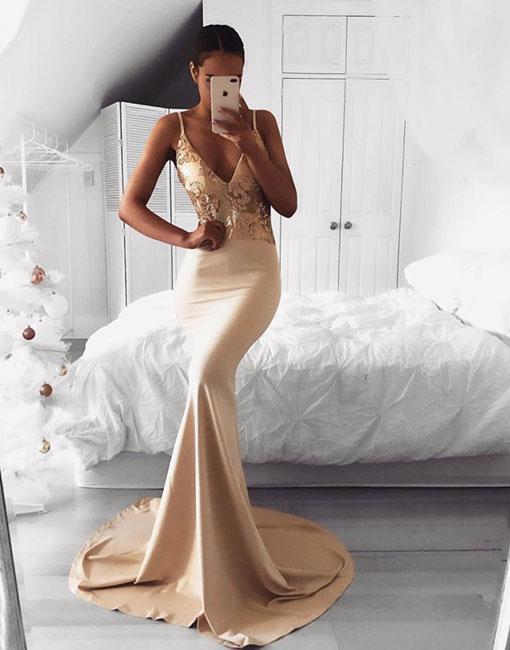 Champagne v neck long prom dress, mermaid evening dress