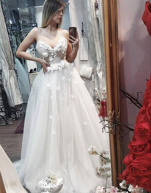 White sweetheart neck lace applique long prom dress, evening dress.