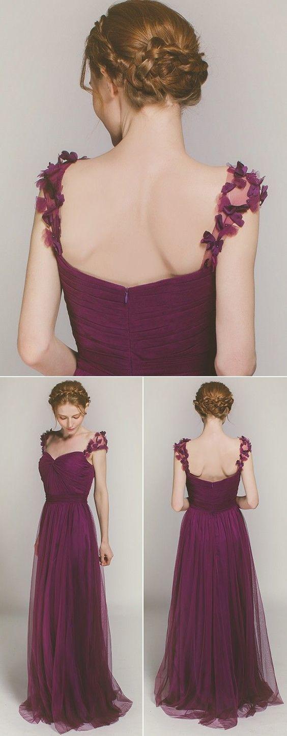 Elegant Long Bridesmaid Dress with Floral Straps
