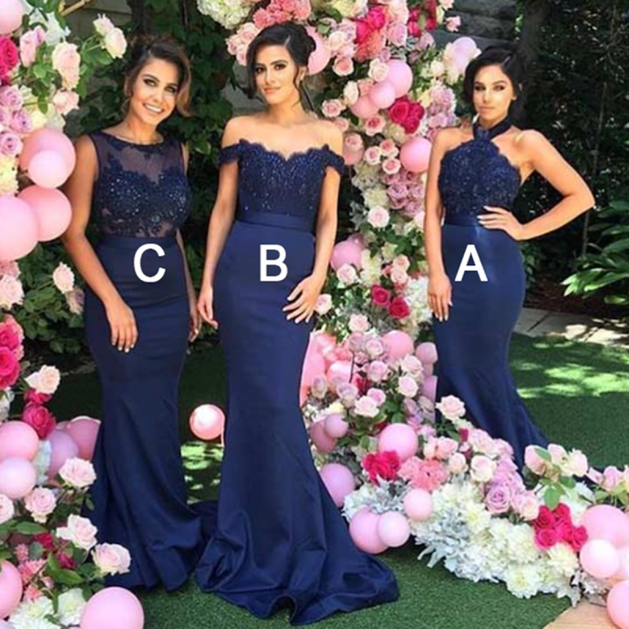 Mermaid Halter Open Back Navy Blue Bridesmaid Dress with Lace Beading