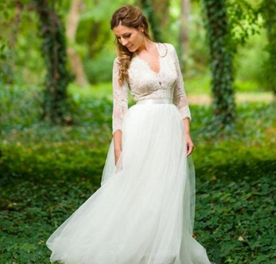 Country  Wedding Dresses | Boho Country Wedding Dresses A Line V Neck Miss Zhu Bridal