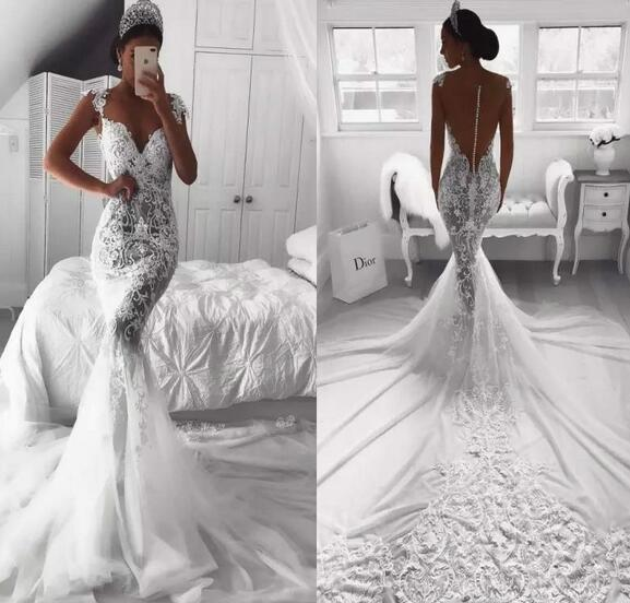 Mermaid Bride Dresses Illusion Bodice