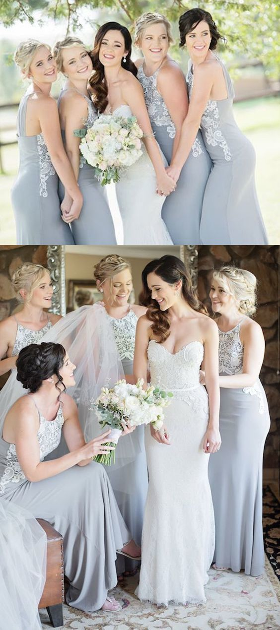 Mermaid Round Neck Long Grey Bridesmaid Dress with Appliques, modest mismatched