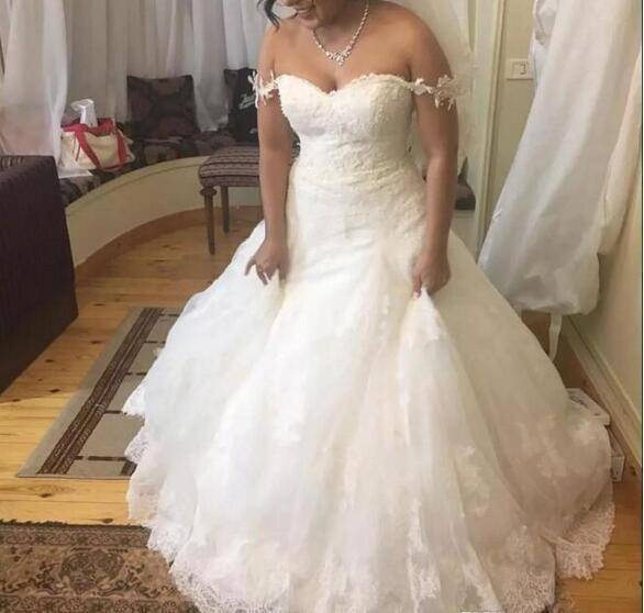Elegant Off Shoulder Wedding Dresses Cheap Lace Appliques Plus Size Wedding  Dress Handmade Zipper Back Cheap Vintage Bridal Gowns Country