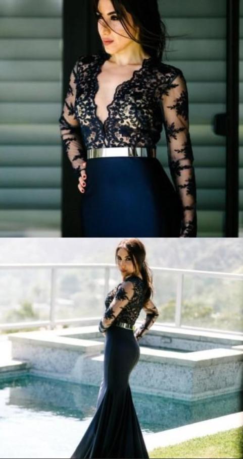 Sexy Sheer Deep V Neck Mermaid Prom Dresses Lace Applique Royal Evening Dress