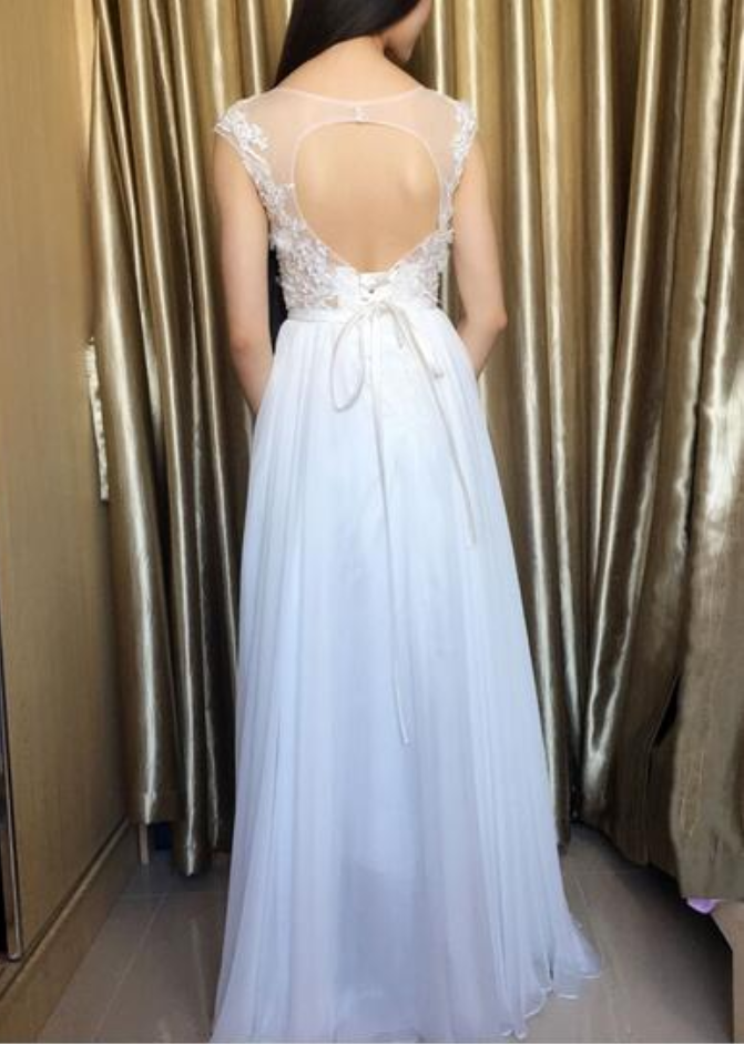 Beautiful Custom Made White Chiffon Long Prom Dresses with Lace Applique, White