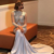 Long Sleeves Prom Dress,Illusion Sweep Train African Formal Evening Dress