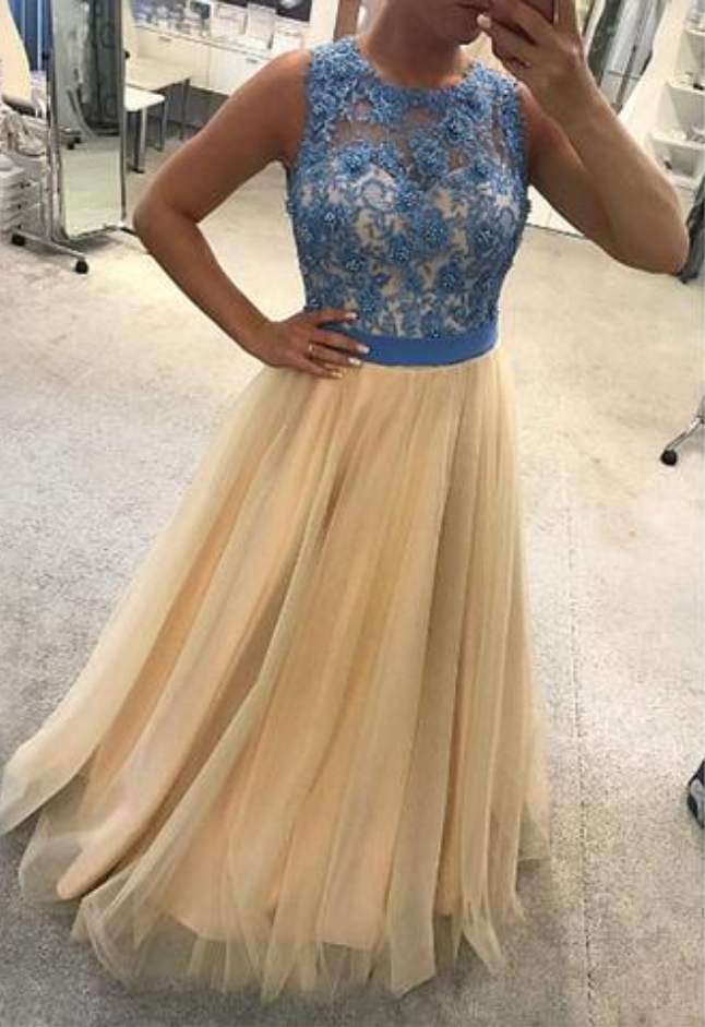 round neck blue lace top A-line long tulle formal prom dress