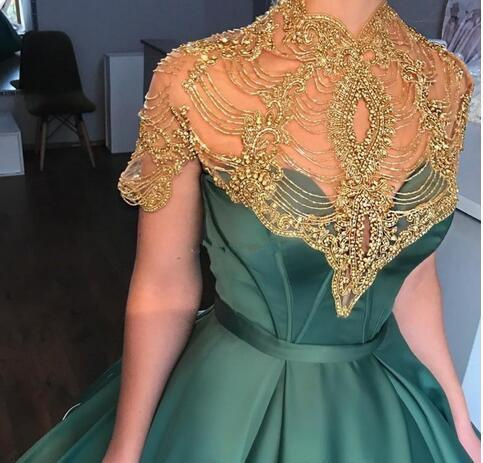 Hunter Green Prom Dresses Short Sleeve 2018 High Neck Beading Satin Ball Gown