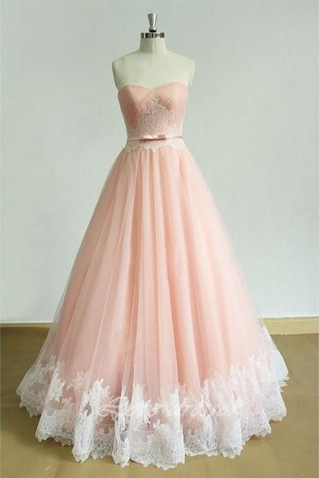 Elegant Tulle Strapless Pink Prom Dress, | fancygirldress