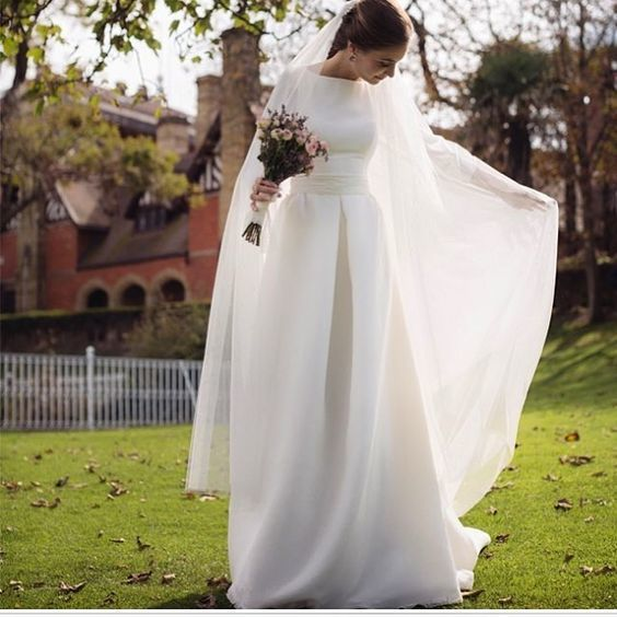 simple elegant wedding dress boat neck long sleeves wedding dresses satin