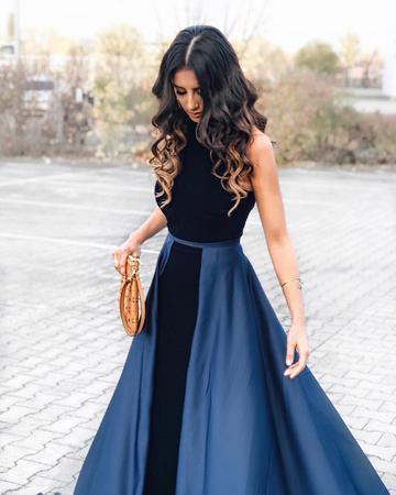 Navy Blue Long Velvet Evening Dresses Open Back Prom by lass on Zibbet