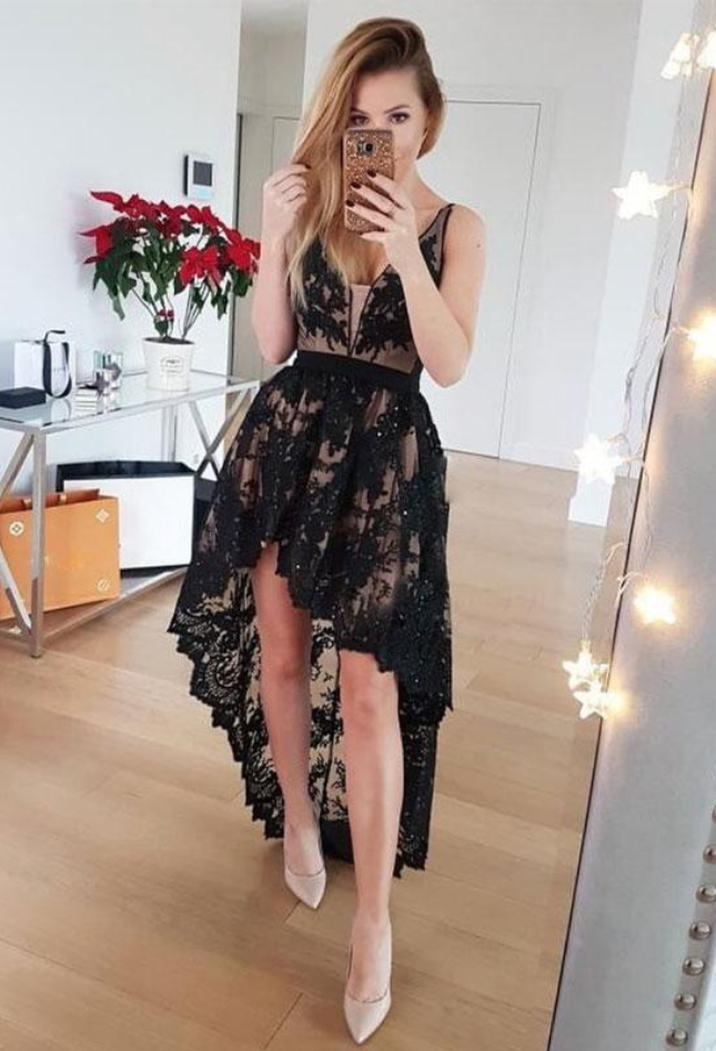 Lace High Low Prom Dress, Black V Neck Party Dress, Prom Gowns
