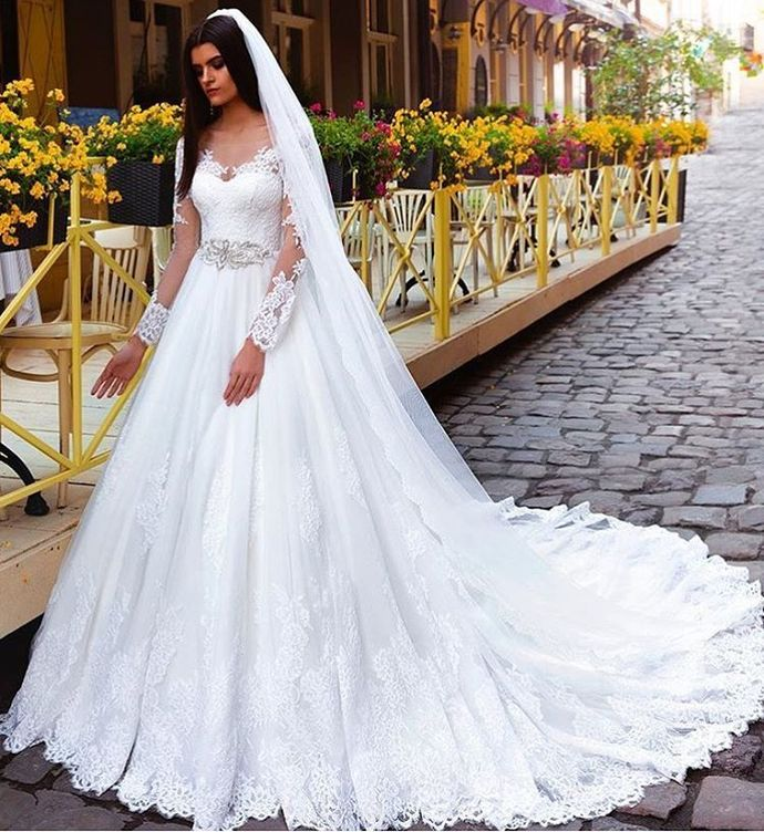 Long Sleeve Lace Appliques White Wedding Dress, Sexy Bridal Dresses