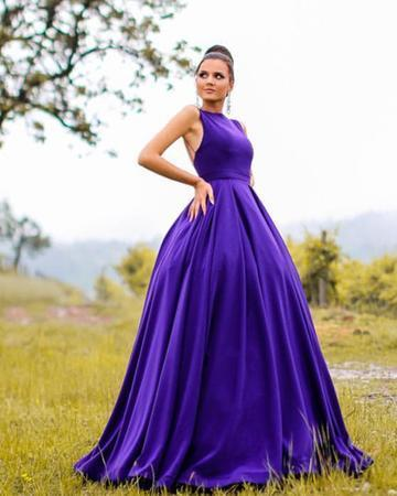 Long Satin Open Back Ball Gowns Prom Dresses Formal Evening Gown