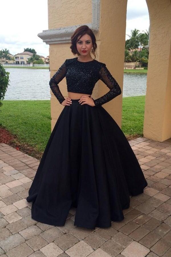 Sexy Two Piece Black Prom Dress, Long Evening Dress, Formal Women Dress