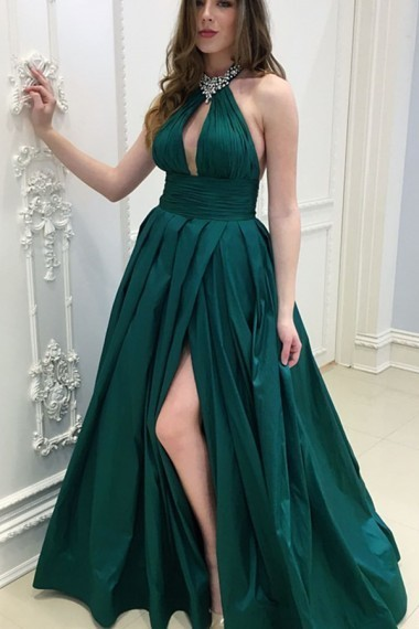 A-Line Halter Backless Floor-Length Dark Green Prom Dress with Keyhole Beading