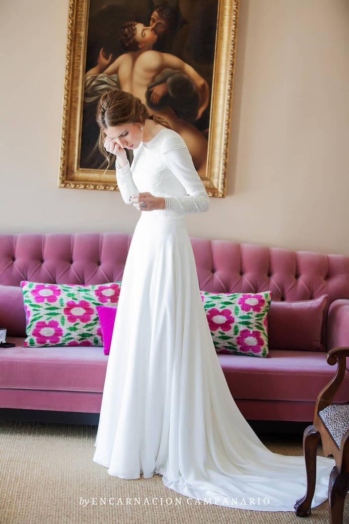 Simple Garden Wedding Dress, Boat Neck by Miss Zhu Bridal on Zibbet