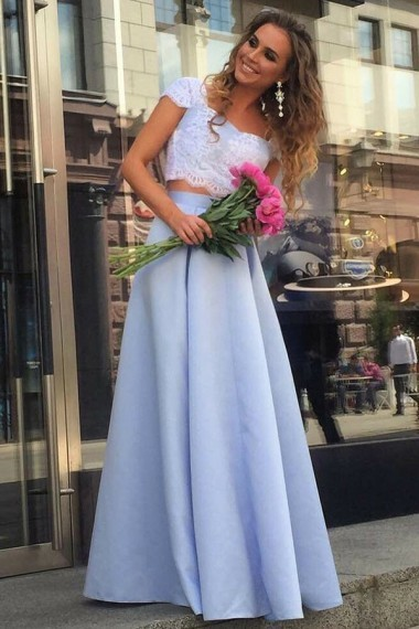Two Piece Square Floor-Length Blue Satin Cap Sleeves Prom Dress with Appliques
