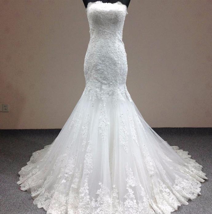 Sexy Strapless Appliques Mermaid Wedding Dress, Sexy Bridal Dresses