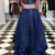 Elegant Two Piece Prom Dress, Long Evening Dress, Lace Prom Dresses