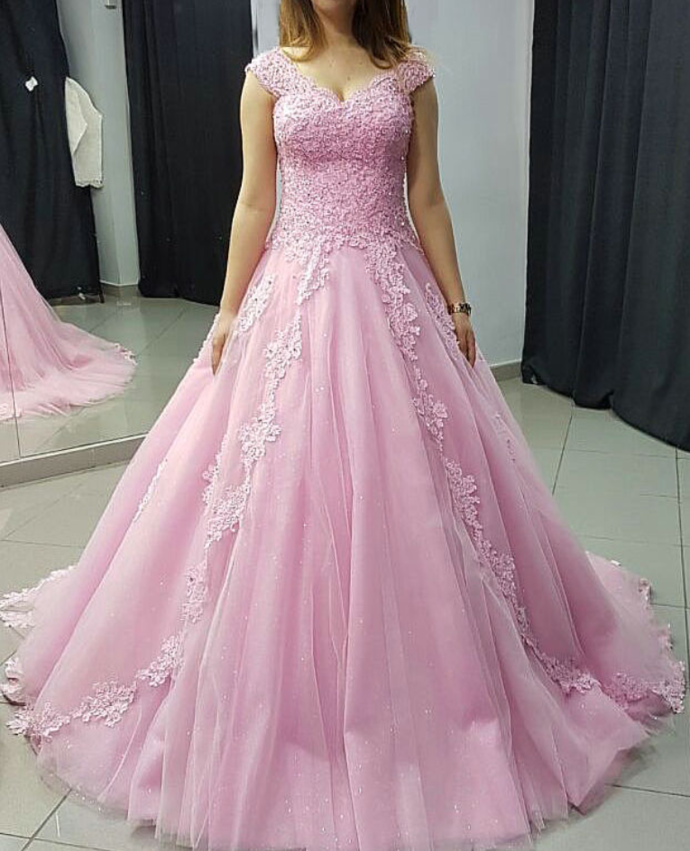 Elegant Appliques Ball Gown Prom Dress, Tulle Quinceanera Dresses, Formal