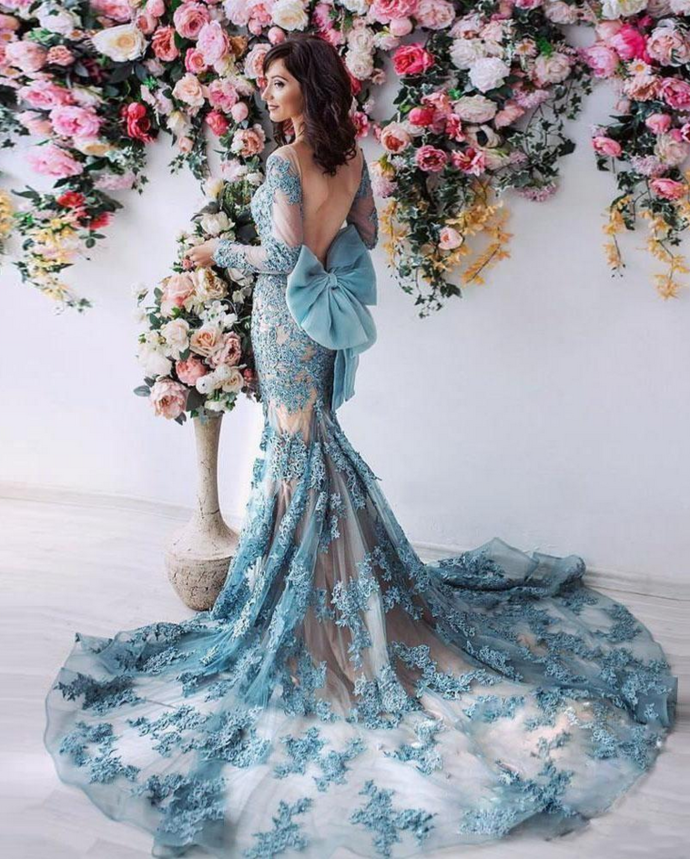 Sexy Backless Prom Dress,Mermaid Prom Dresses,With Long Sleeves Lace Appliqued