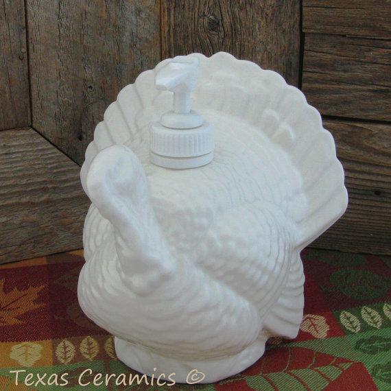Ceramic Turkey Dispenser Bottle for Liquid Soap or Lotion in Soft White for Bath