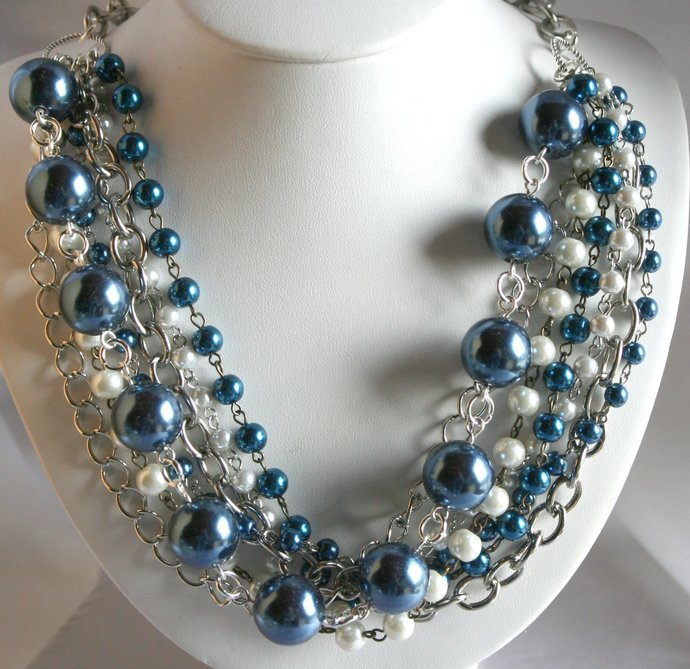 Chunky Large Blue Faux Pearl Wedding Necklace,  Multi-Strand Glass Pearls, Chain