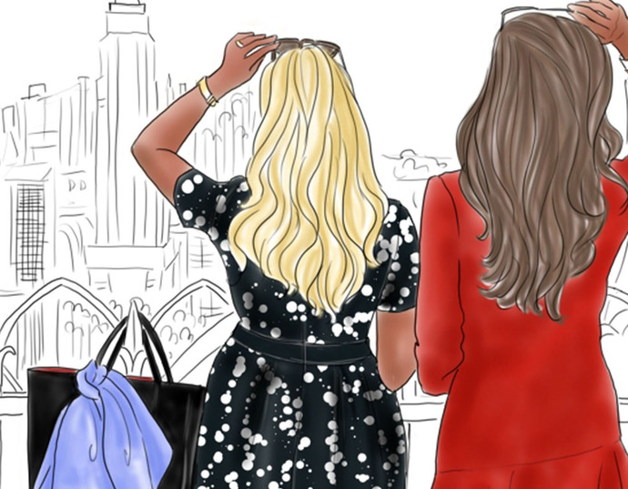 Watercolour fashion illustration clipart - Friends in New York - Dark Skin