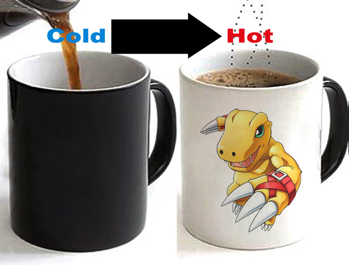 DIGIMON Agumon Color Changing Ceramic Coffee Mug CUP 11oz