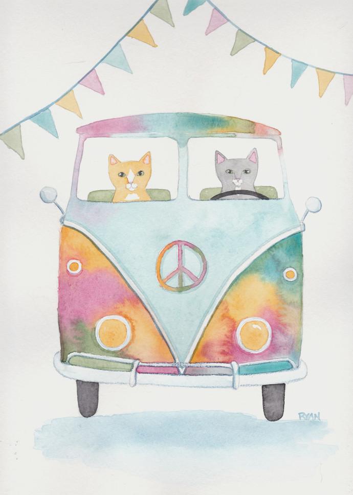 Watercolor Hippie Road Trip Cats Original Cat Folk Art Watercolor Painting