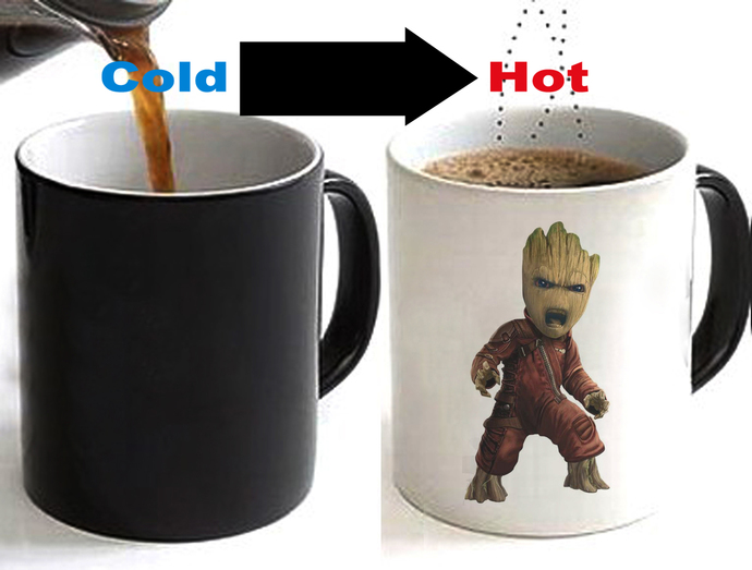 Guardians of the Galaxy Baby Groot #2 Color Changing Ceramic Coffee Mug CUP 11oz