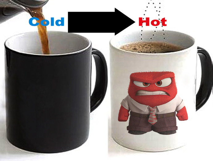 INSIDE OUT ANGER Color Changing Ceramic Coffee Mug CUP 11oz