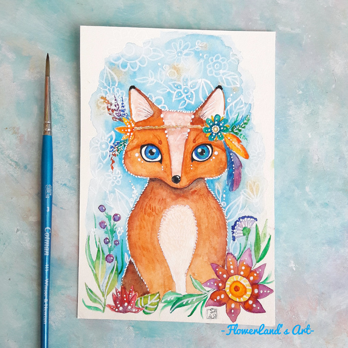 Original watercolor boho fox painting. 10x15cm. Ready to ship.