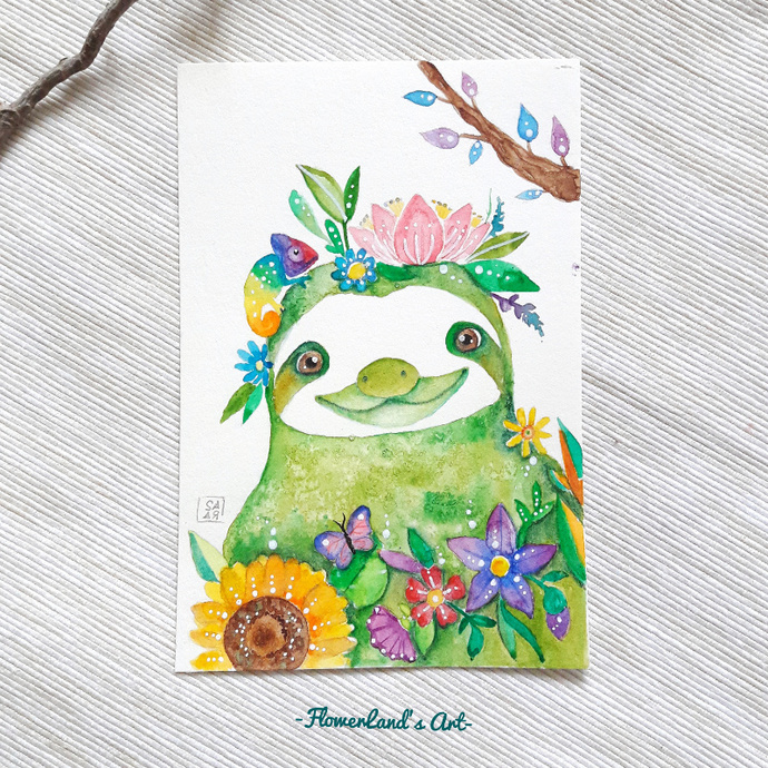 Original watercolor  green sloth painting. 10x15cm. Ready to ship.