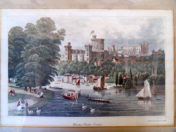 Landscape print Windsor Castle London 1800s reproduction print