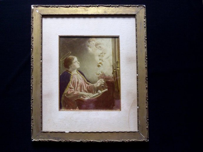 Hand tinted photogravure print , Framed Saint Cecilia , published 1892