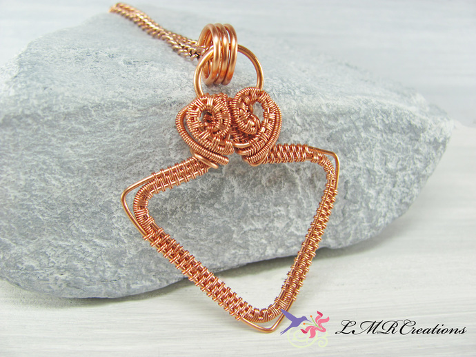 Copper Wire Triangle Necklace, Copper Wire Wrapped Triangle Pendant, Minimalist