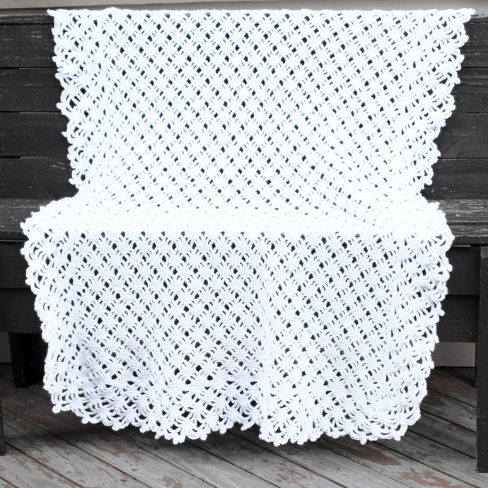 White Baby Blanket Openwork Crochet By Barkingdogdesigns On Zibbet