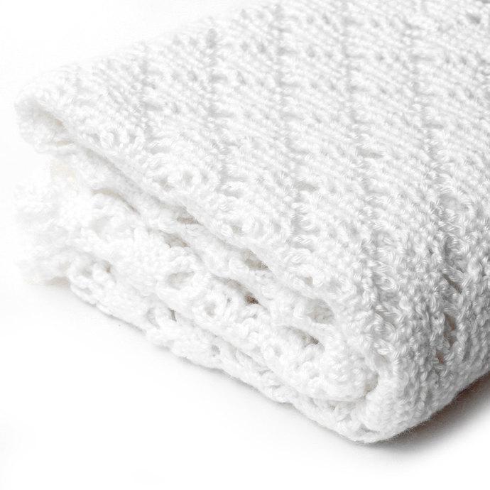 White Baby Blanket. Openwork Crochet Diamond Pattern. Handmade Keepsake Afghan.