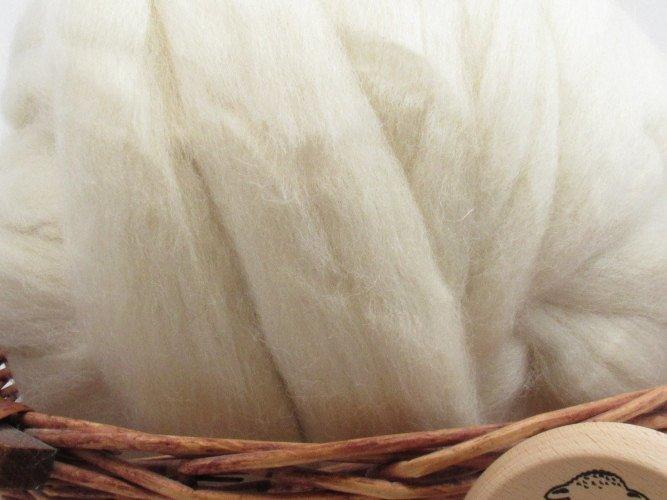 White Jacob Wool Top Roving - Undyed Spinning & Felting Fiber / 1oz