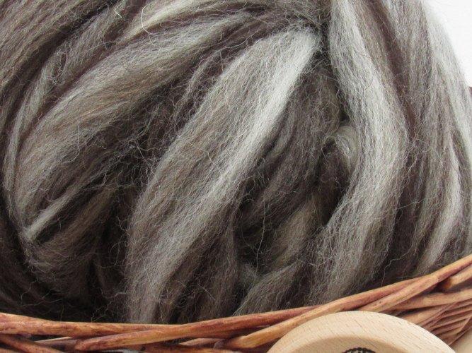 Mixed Jacob Wool Top Roving - Undyed Natural Spinning & Felting Fiber / 1oz