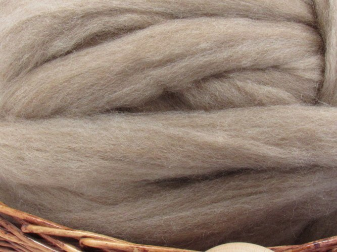 Oatmeal Tasmanian Polwarth Carded Sliver Wool Roving- Undyed Natural Spinning &