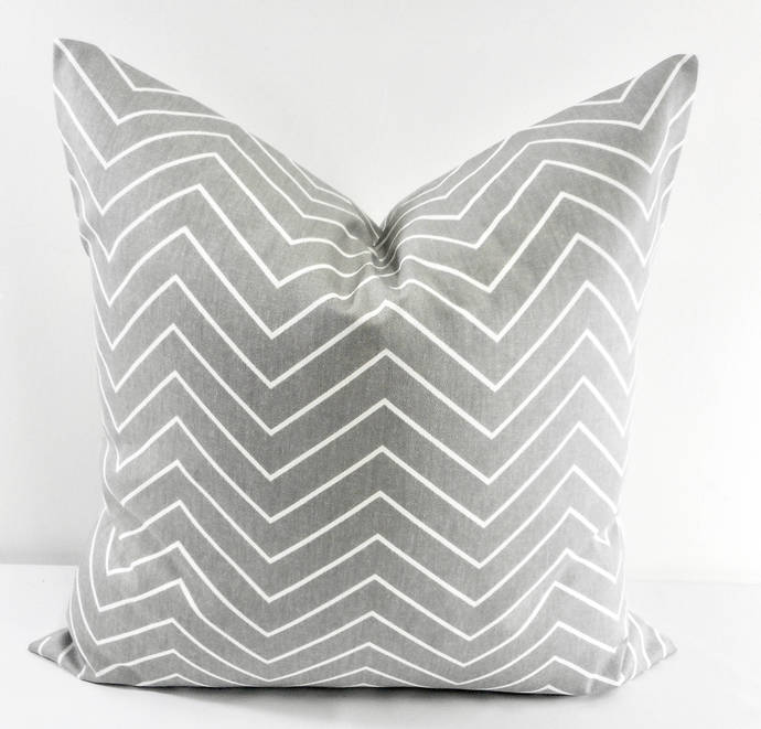Storm Grey & White In Chevron  Print  Sofa Pillow cover. Throw pillow cover.